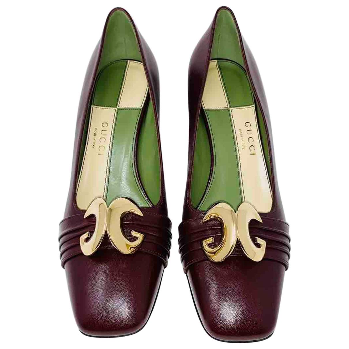 Gucci - Escarpins Malaga pour femme en cuir - bordeaux