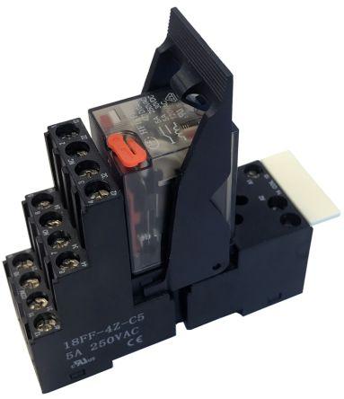 Hongfa Europe GMBH 4RM Series , 24V ac 4PDT Interface Relay Module, Screw Terminal , DIN Rail