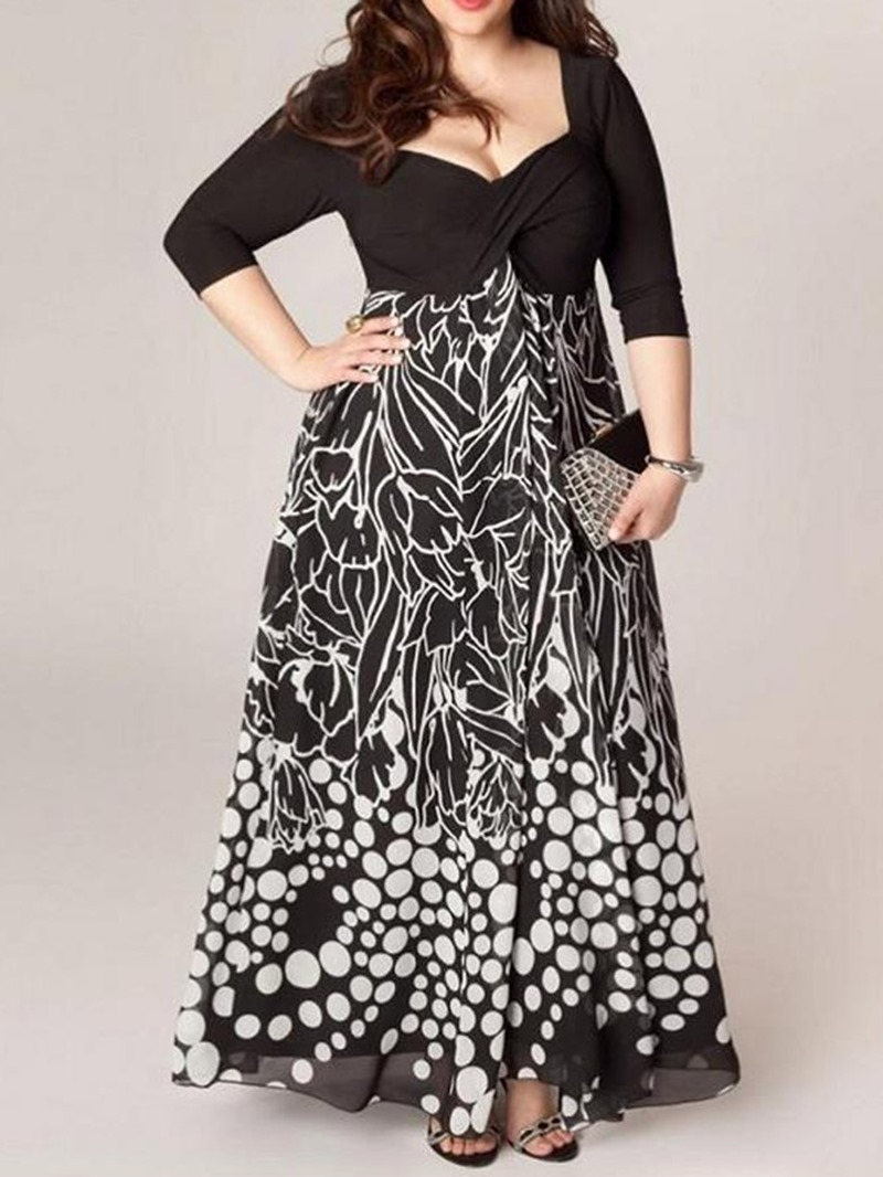 Ericdress Plus Size Print Patchwork A-Line Ankle-Length Summer Dress