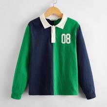 Camisa polo de color combinado con parche de numero