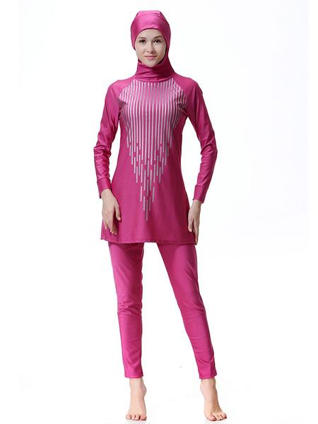 Milanoo Muslim Burkini Swimwear Women Long Sleeve Striped Hooded Beach Bathing Suit