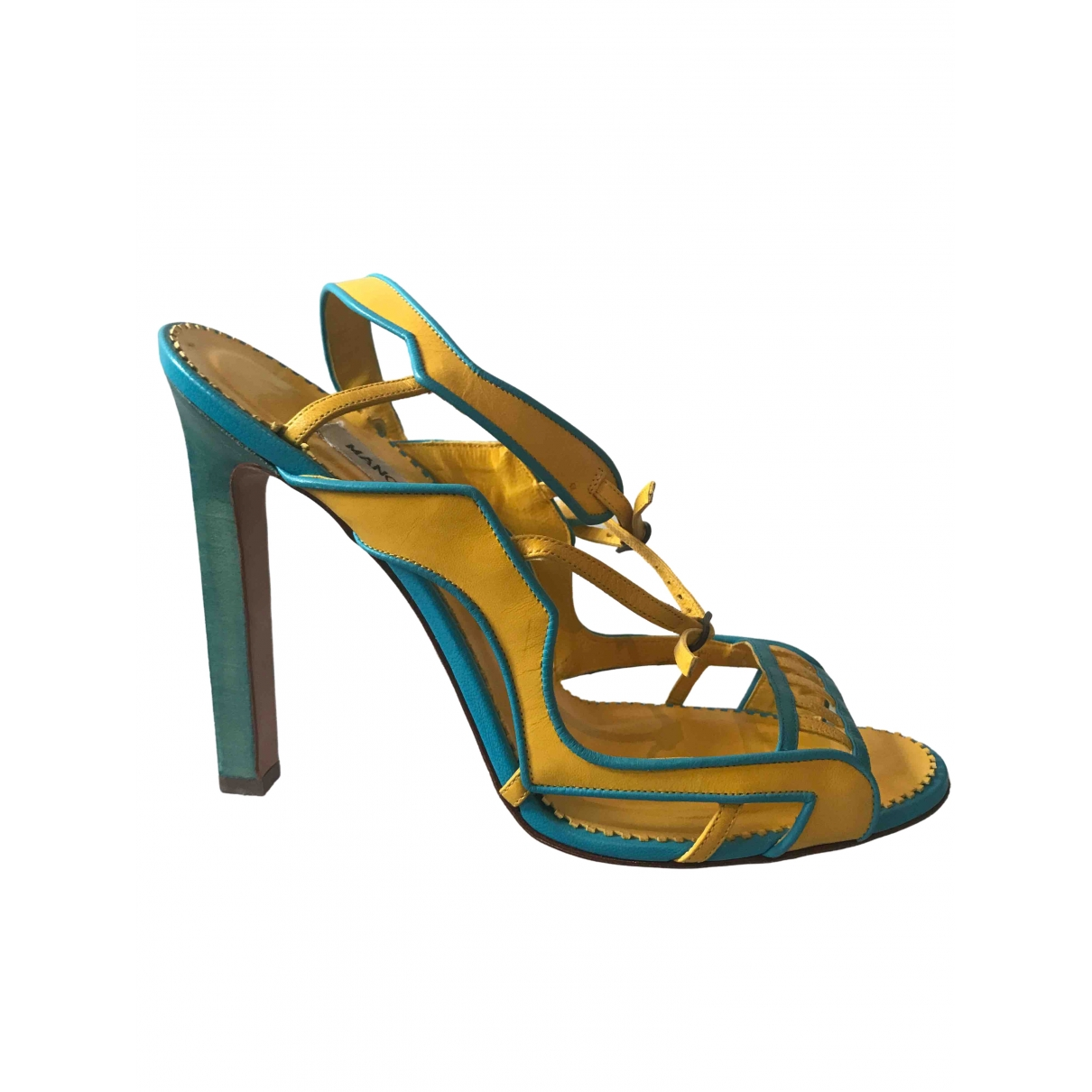 Manolo Blahnik \N Yellow Leather Sandals for Women 39 EU