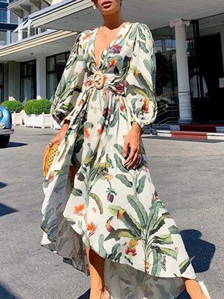Milanoo Vestidos largos Mangas largas Vestido largo de poliester con cuello en V estampado verde