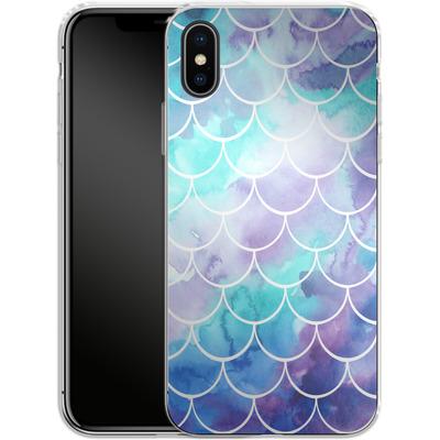 Apple iPhone X Silikon Handyhuelle - Purple Mermaid Scales von Becky Starsmore