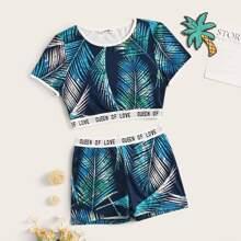Girls Tropical Print Ringer Top and Biker Shorts Set