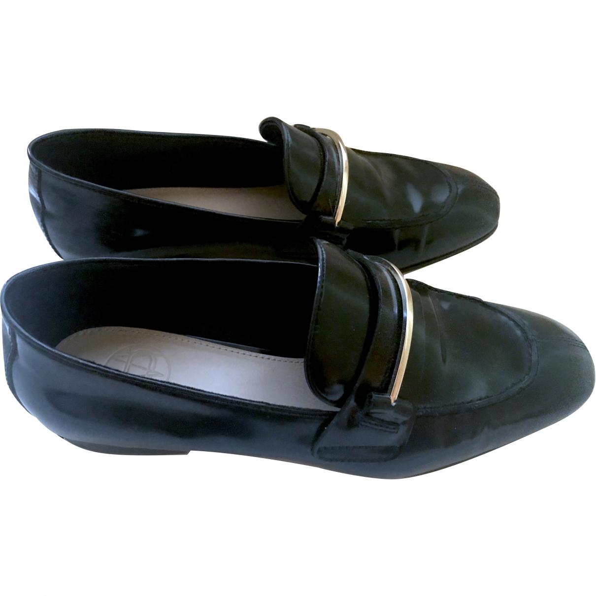 Massimo Dutti \N Black Patent leather Flats for Women 37 EU