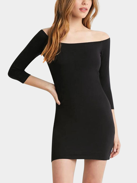 Yoins Black Wide Neck Bodycon Dress
