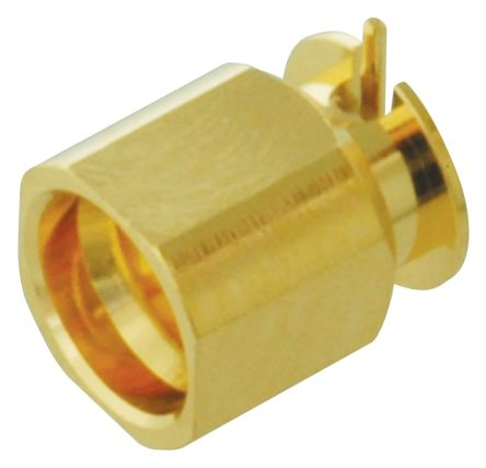 Yuetsu Straight 50Ω Surface MountBulkhead Fitting Coaxial Connector, Plug, Gold, Solder Termination