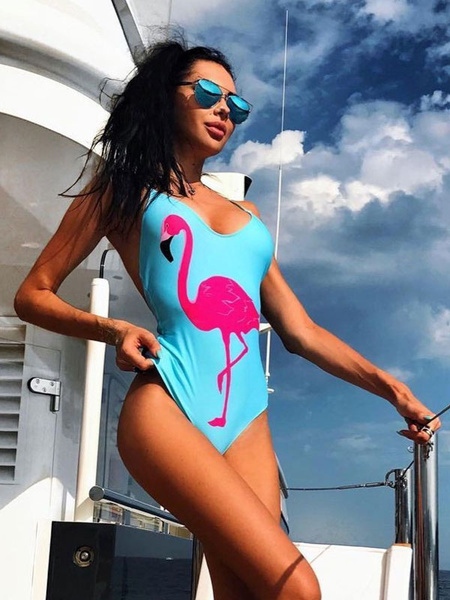 Milanoo One Piece Swimsuit Flamingo Print Women Blue Surfing Swimwear