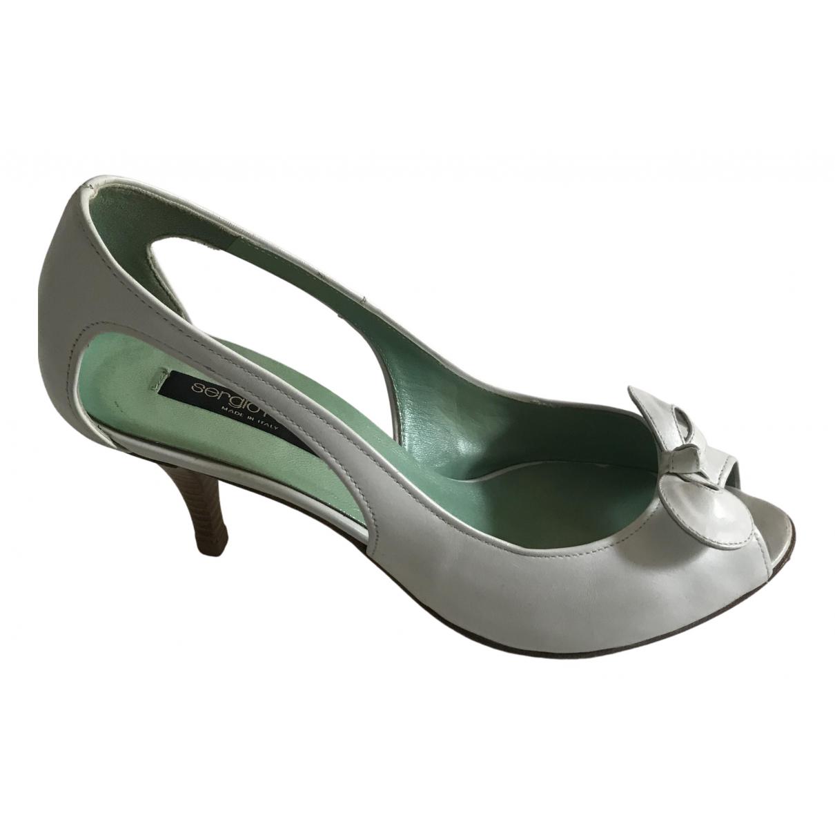 Sergio Rossi N White Leather Heels for Women 37.5 EU