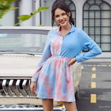 Double Crazy vestido de tie dye de cintura fruncido