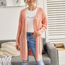 Drop Shoulder Open Front Open Knit Cardigan