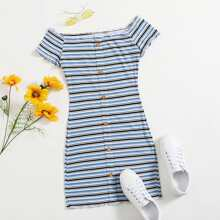 Off Shoulder Lettuce Trim Rib-knit Striped Dress