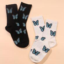 2 pares calcetines con patron
