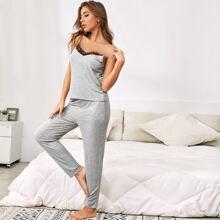 Cami Schlafanzug Set mit Kontrast Spitze