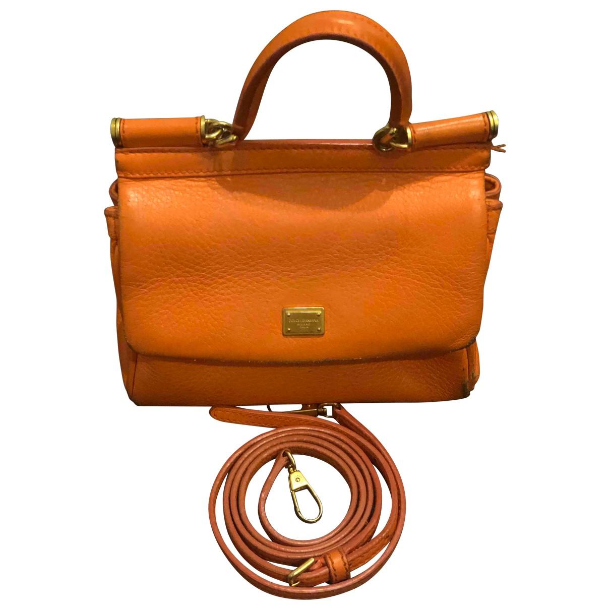 Dolce & Gabbana - Pochette Sicily pour femme en cuir - orange