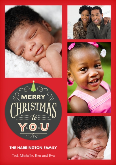 Christmas Photo Cards Flat Matte Photo Paper Cards with Envelopes, 5x7, Card & Stationery -Merry Christmas Medallion