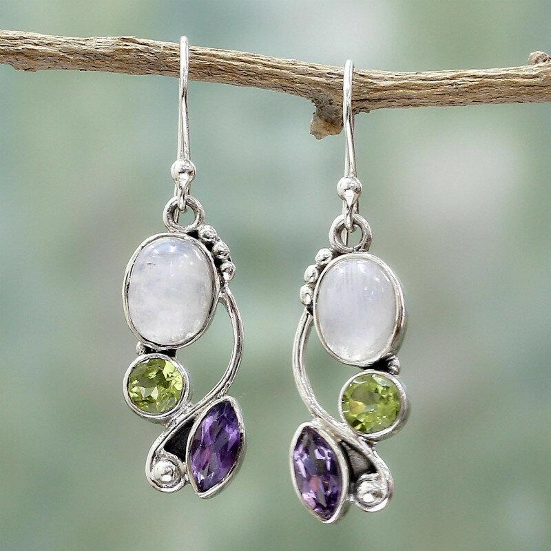 Vintage Natural Moonstone Earrings Metal Geometric Crystal Leaf Pendant Earrings