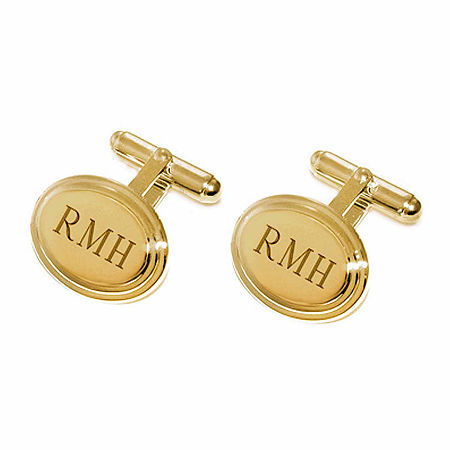Personalized Stepped Oval Cuff Links, One Size , Yellow