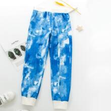 Jogginghose mit Batik und schraegen Taschen