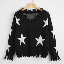 Pullover mit Stern Muster, Riss und sehr tief angesetzter Schulterpartie