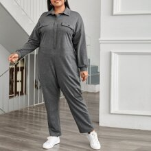Plus Collared Press Buttoned Jumpsuit