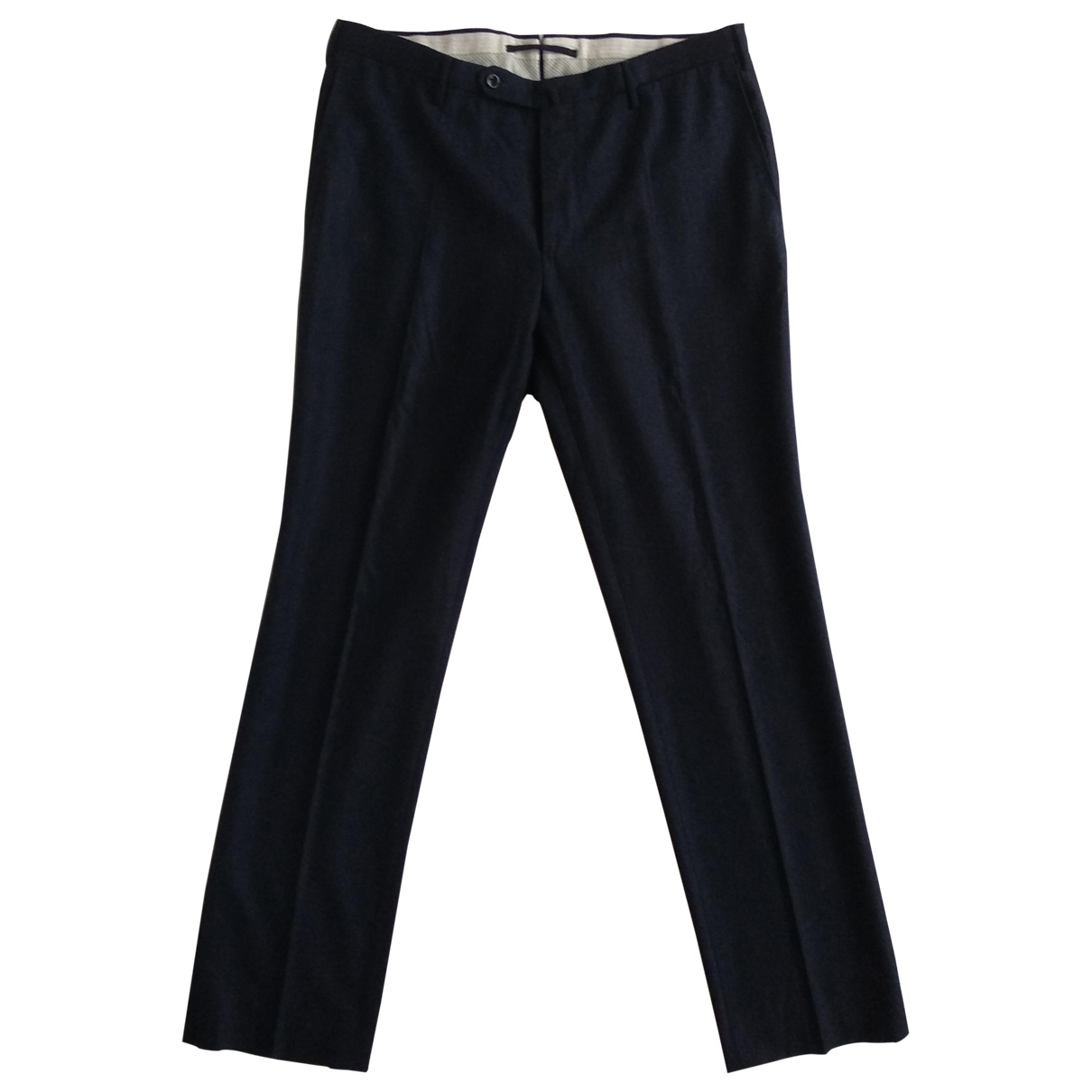 Incotex \N Navy Wool Trousers for Men 54 IT