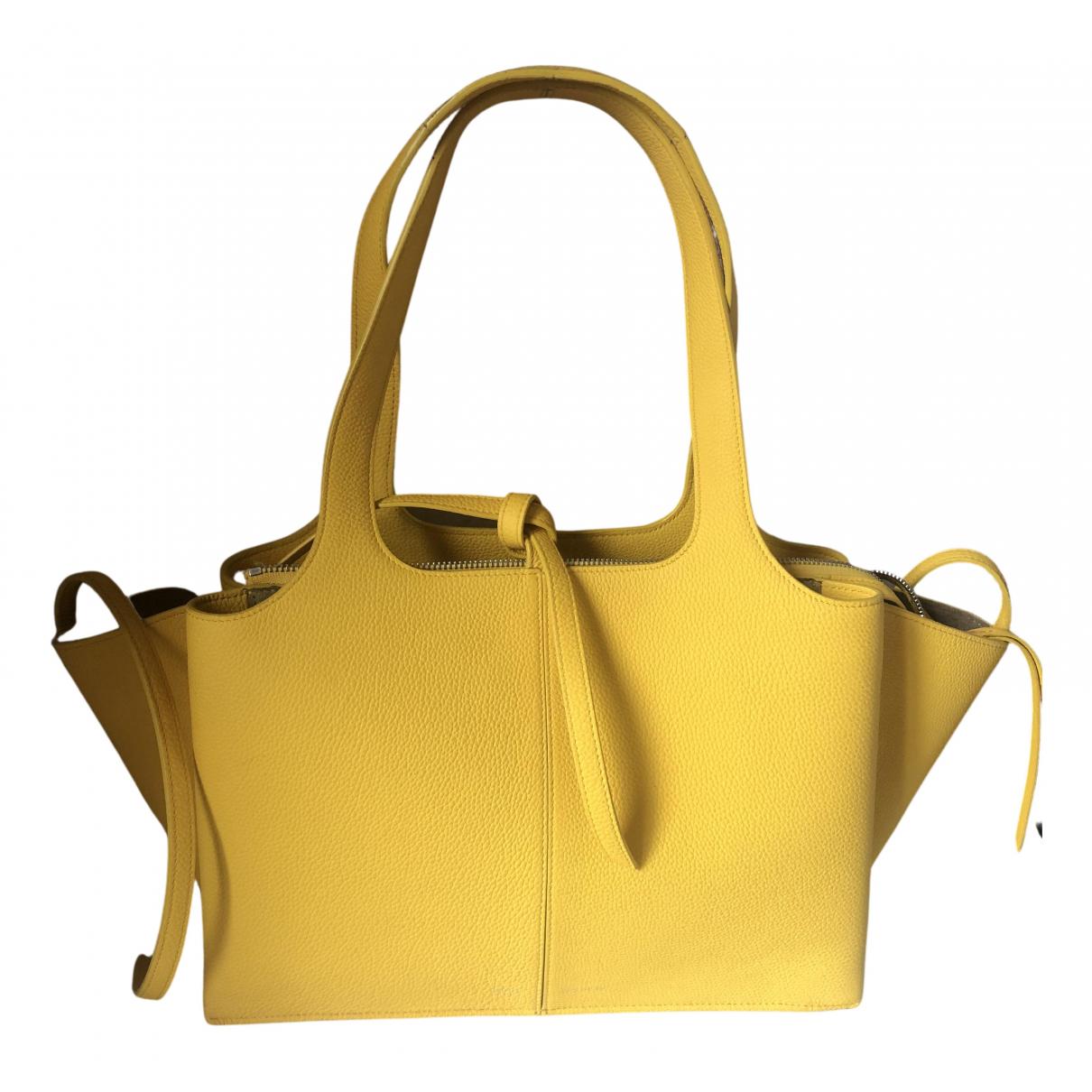 Celine - Sac a main Tri-Fold pour femme en cuir - jaune