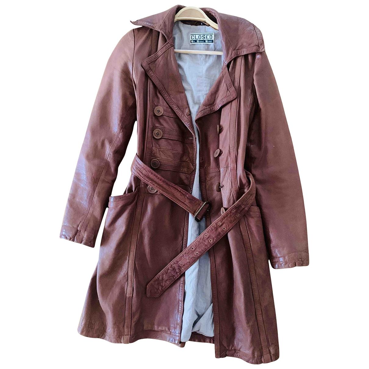 Closed - Manteau   pour femme en cuir - marron