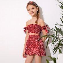 Conjunto de niñas top floral de margarita fruncido de manga con nudo de hombros descubiertos con shorts