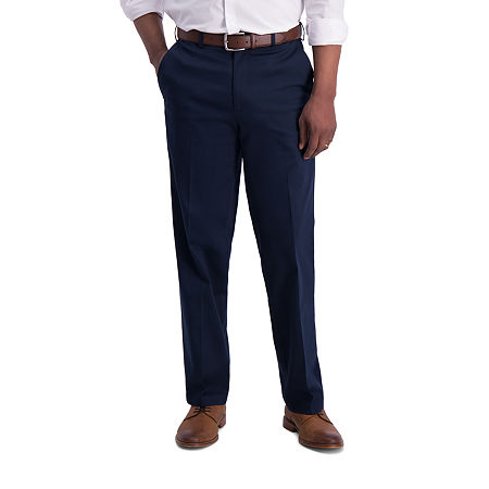 Haggar  Iron Free Premium Khaki Classic Fit Flat Front Pants, 40 30, Blue