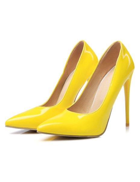 Milanoo Women's Stiletto High Heels Pointed Toe Basic Pumps in Yellow Heeled Shoes