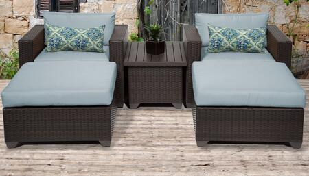 Belle Collection BELLE-05a-SPA 5-Piece Patio Set with 2 Ottomans  Coffee Table and 2 Club Chairs - Wheat and Spa