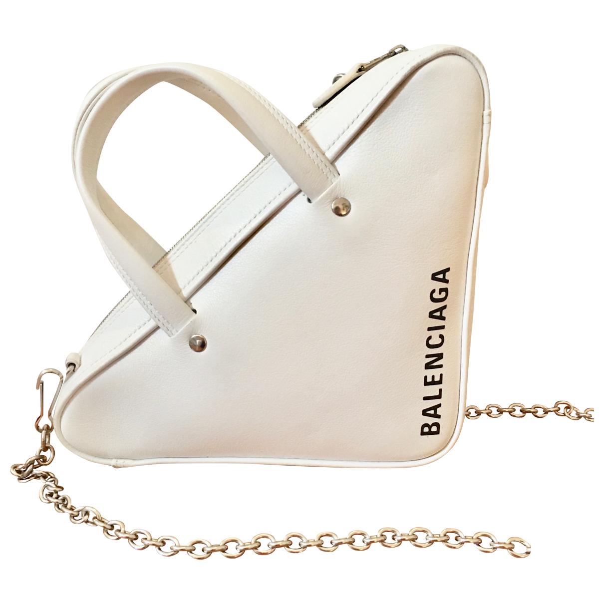 Balenciaga - Sac a main Triangle pour femme en cuir - blanc