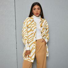 Drop Shoulder Button Front Zebra Stripe Coat