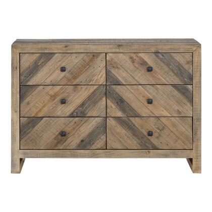 Teigen Collection FR-1006-03 Dresser with Solid Reclaimed Pine Wood in Brown