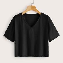 Grosse Grossen - Einfarbiges T-Shirt mit V Kragen