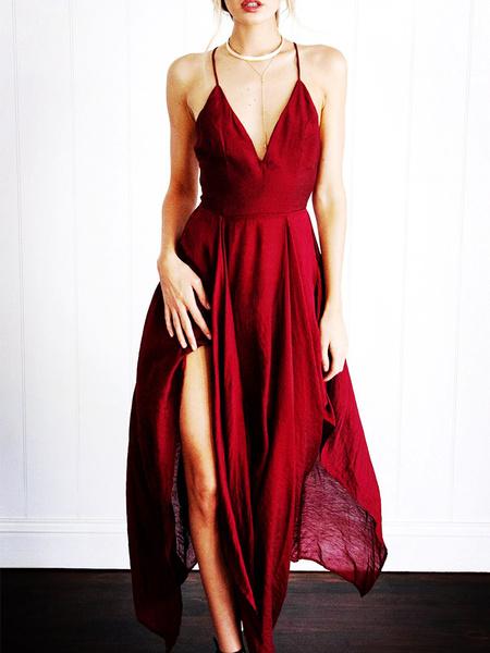 Milanoo Vestido largo Color borgoña Moda Mujer sin mangas de poliester Vestidos con peplum Color liso asimetrica con tirantes estilo moderno Verano