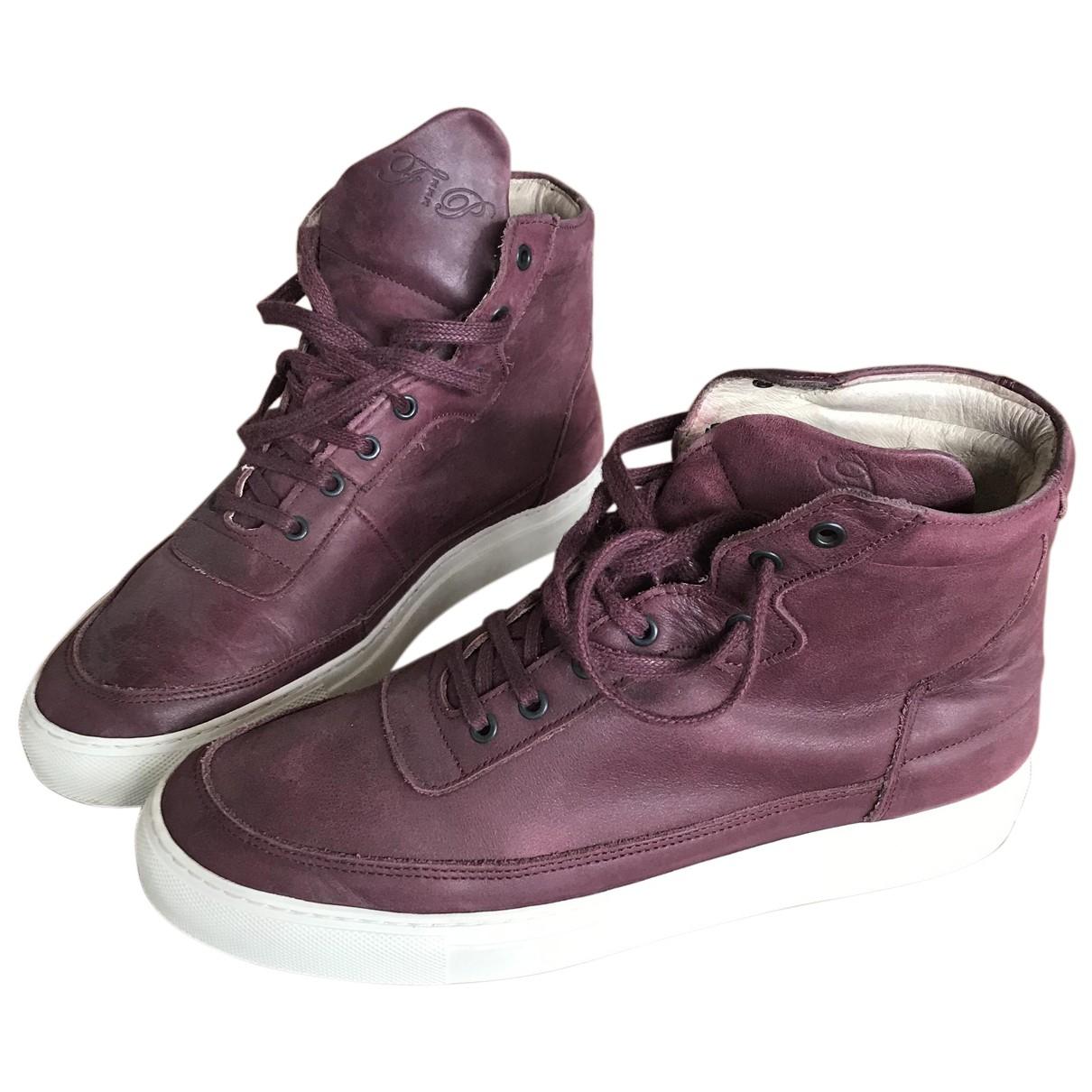 Filling Pieces \N Sneakers in  Bordeauxrot Leder