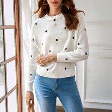Pullover mit Punkten Muster und sehr tief angesetzter Schulterpartie