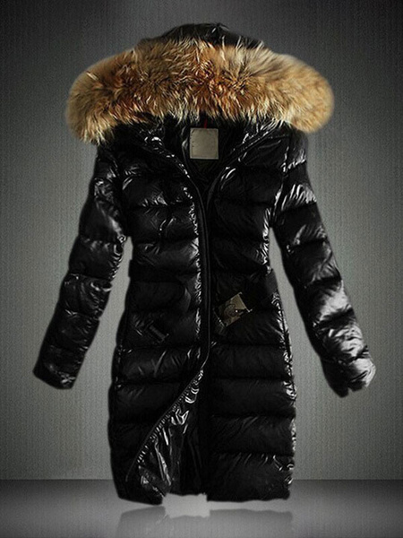 Milanoo Puffer Coats Black Warmth Preservation Hooded Zipper Zipper Long Sleeves Removable Outerwear
