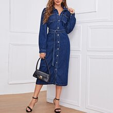 Denim Kleid mit Knopfen vorn, Taschen Flicken und Guertel