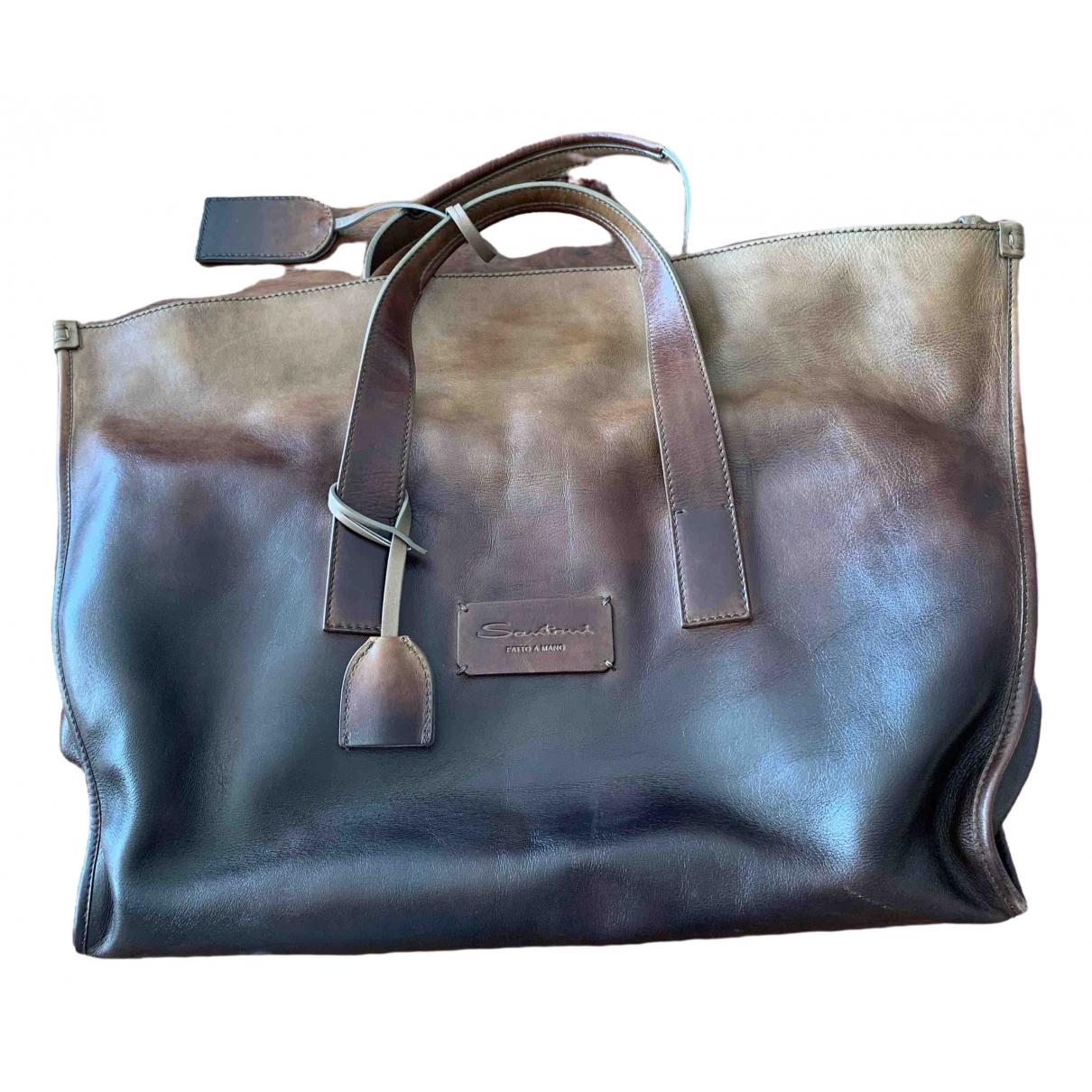 Santoni \N Brown Leather bag for Men \N