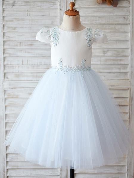 Milanoo Vestidos de niña de flores con tachuelas mangas cortas Cuello de joya Bebe Azul Vestidos de fiesta para niños