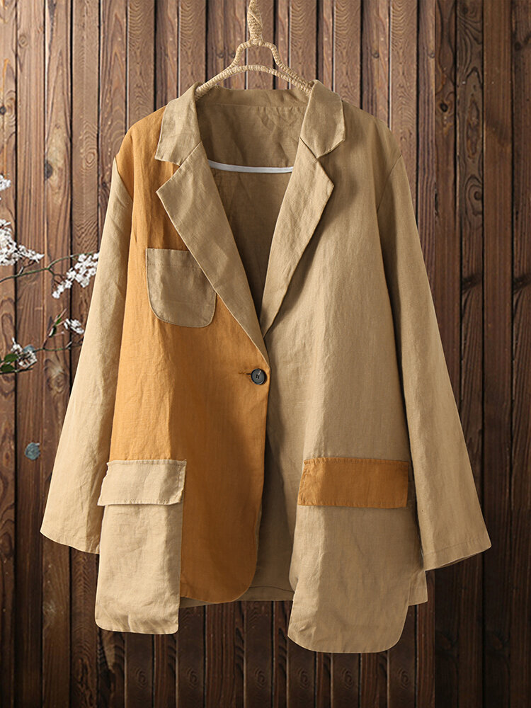 Contrast Color Lapel Collar Long Sleeves Casual Loose Jacket For Women