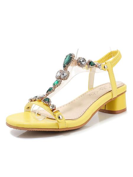 Milanoo Sandalia de las mujeres zapatos con punta abierta de diamantes de imitacion Tamaño del bloque de tacon Sandalias
