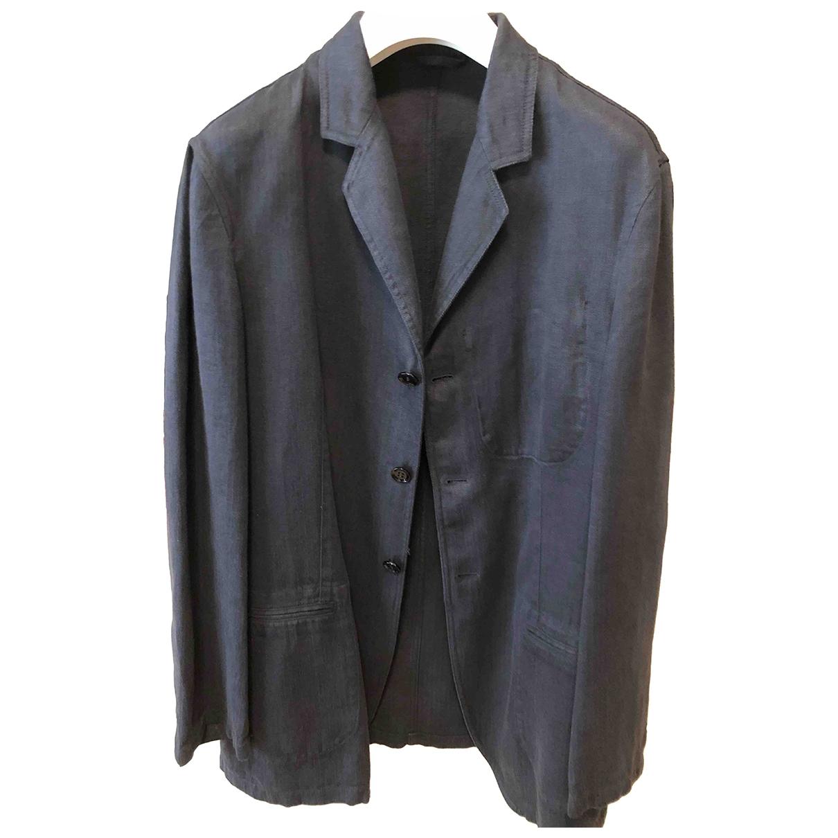 Armani Collezioni - Vestes.Blousons   pour homme en lin - bleu