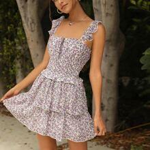 Vestido floral de margarita con fruncido de cintura con fruncido