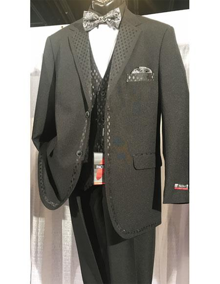 Mens Black Two Buttons Vested Tuxedo With Design Lapel & Matching Vest