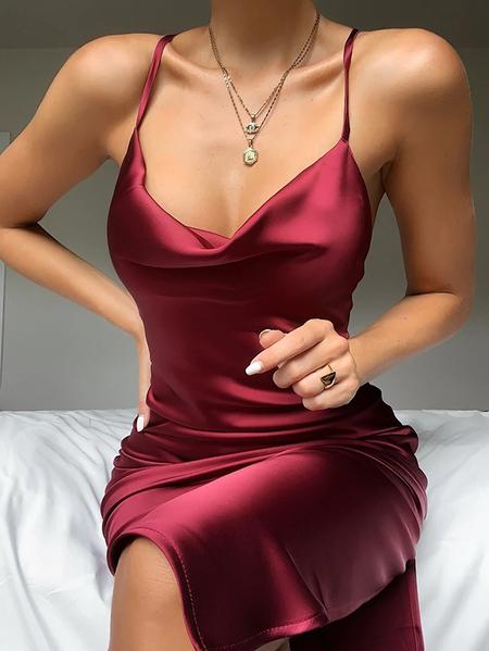 Yoins Backless Design Spaghetti Sleeveless Mini Dress